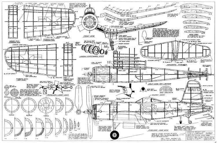 F2G Corsair model airplane plan