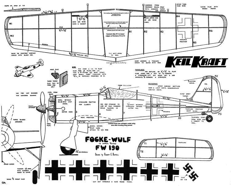 FW-190 KK model airplane plan