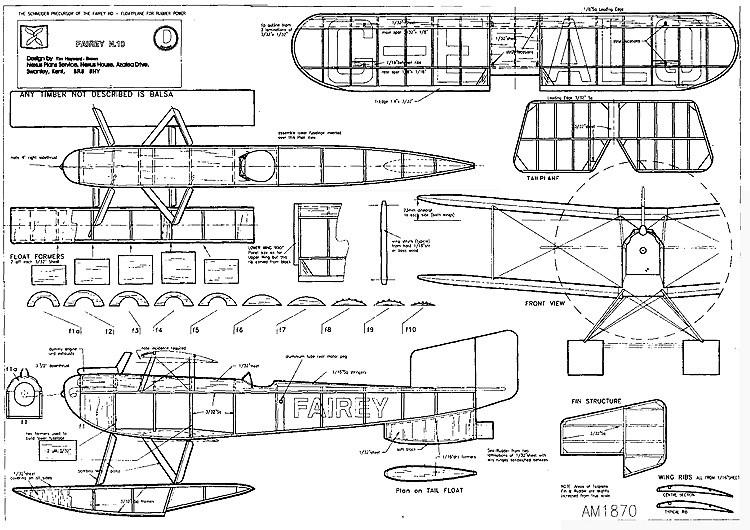 Fairey N10 18in rubber model airplane plan
