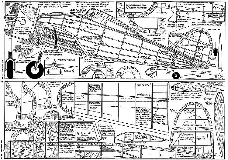 Fiat G50 27in model airplane plan