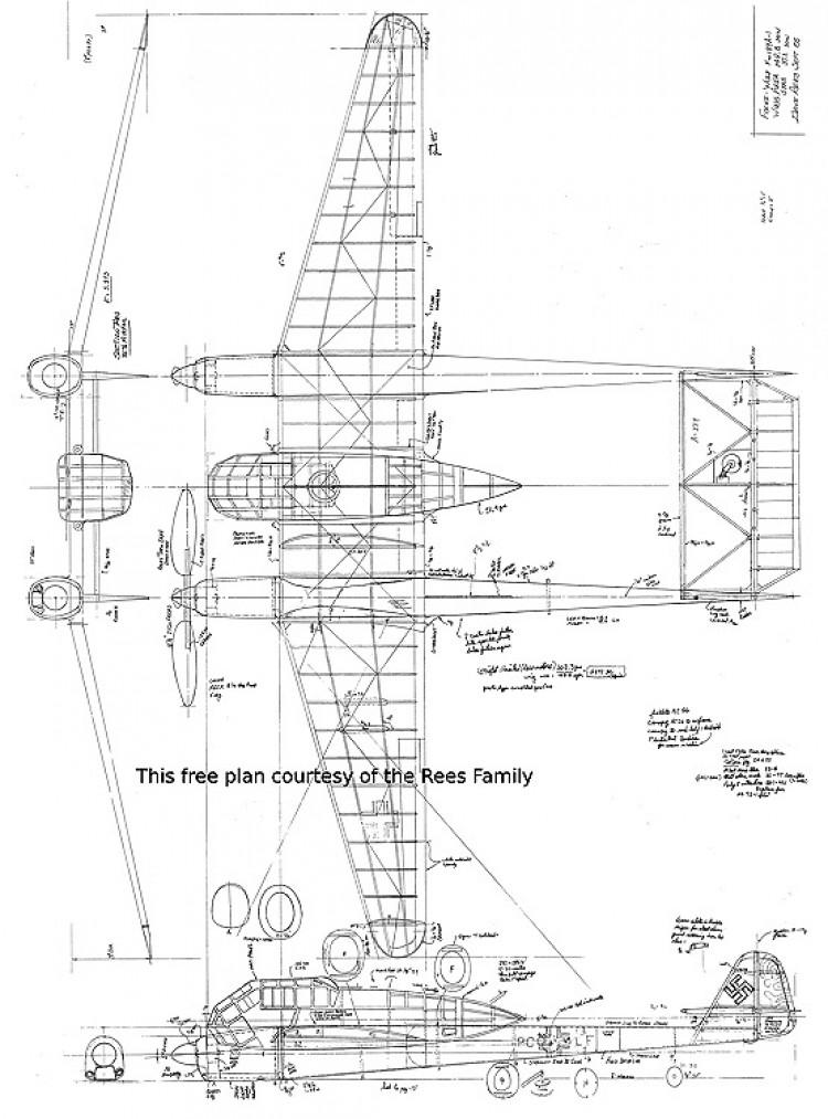Focke-Wulf fw 189a-1 model airplane plan