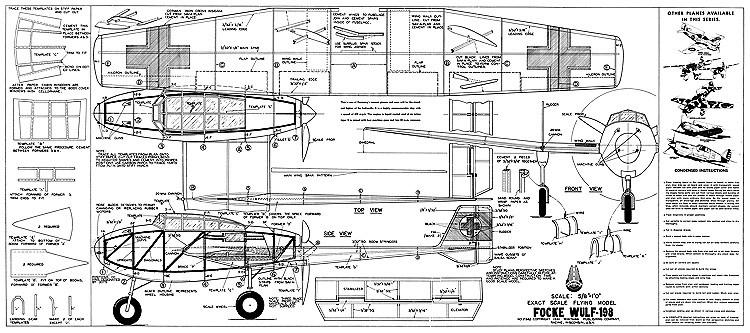 Focke Wulf 198 Whitman model airplane plan