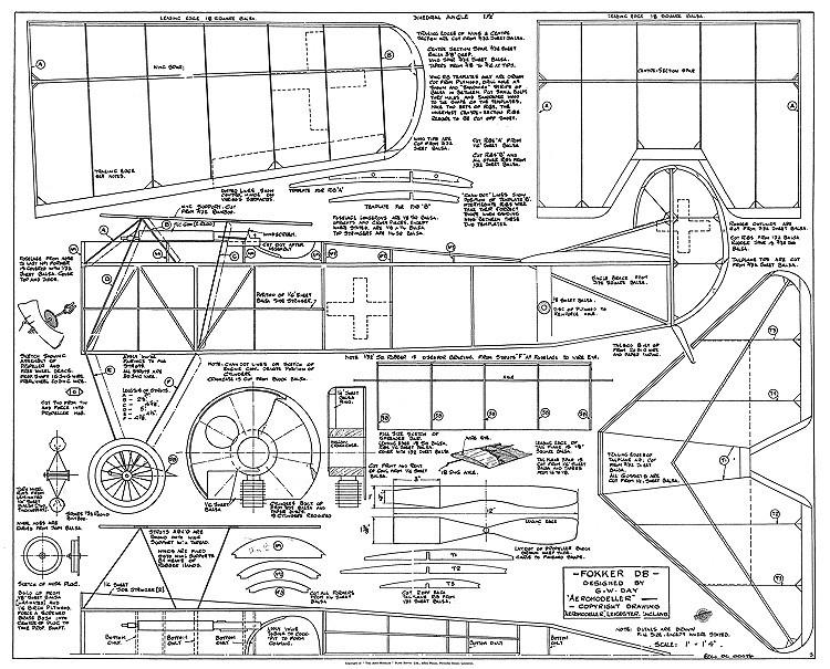 Fokker D8 model airplane plan