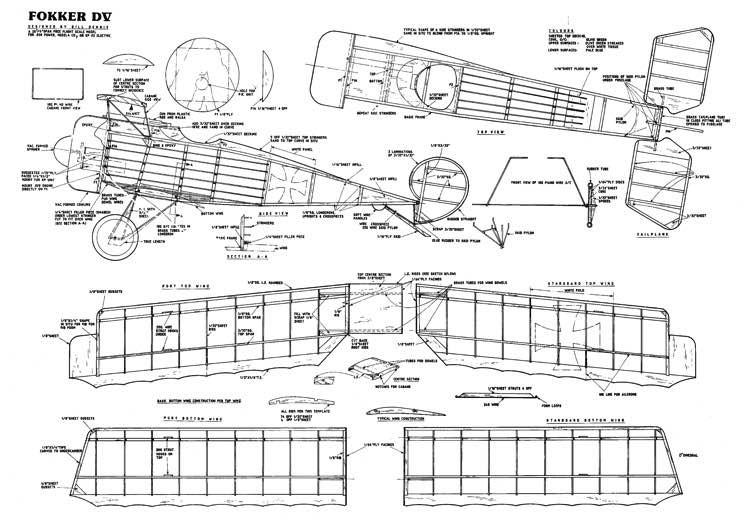 Fokker D.V model airplane plan