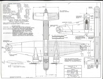 Fokker T V model airplane plan