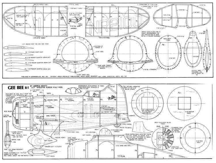 Gee Bee R-1 model airplane plan