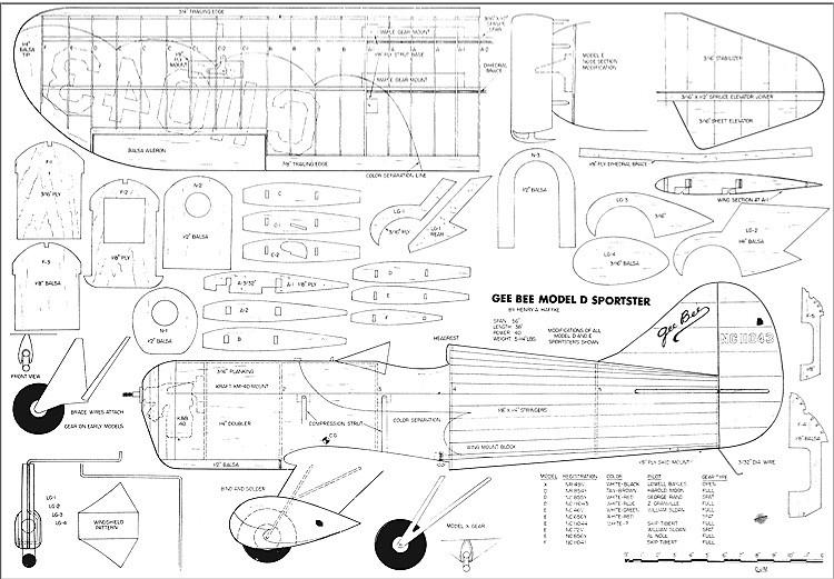 Gee Bee Model D Sportster 93 Inch model airplane plan