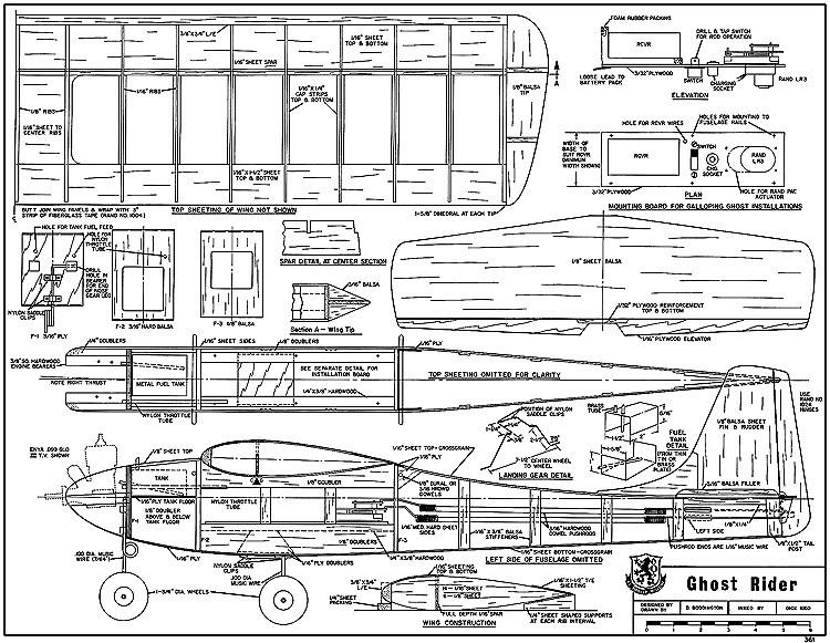 Ghost Rider RCM361 model airplane plan
