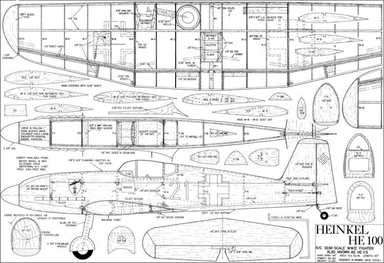 HE 100 model airplane plan