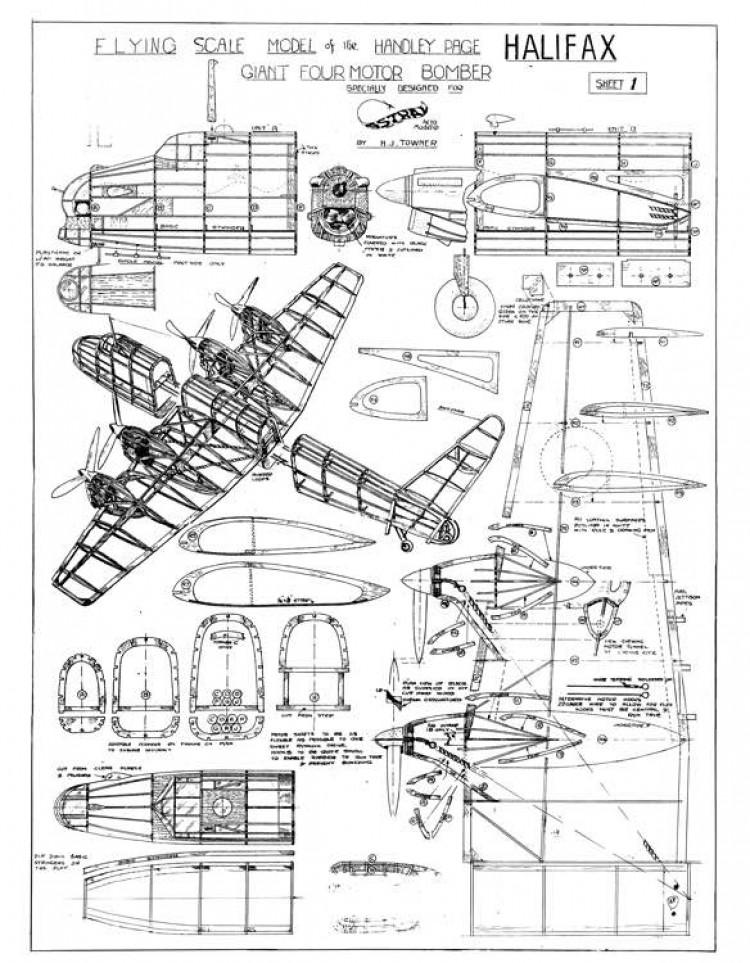HP Halifax Towner 2 sheets model airplane plan