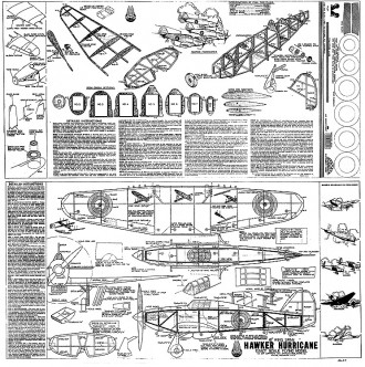 Hawker Hurricane 18in model airplane plan