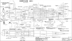 Hawker Hurricane 60in model airplane plan