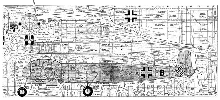 Heinkel He219 model airplane plan