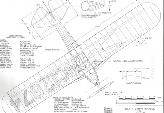 Heath LNB-4 Parasol model airplane plan
