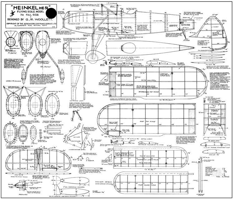 Heinkel HE-51 model airplane plan