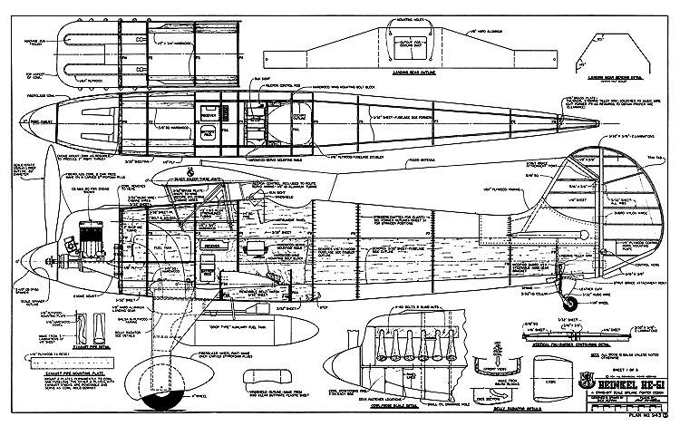 Heinkel he-51 RCM-943 model airplane plan