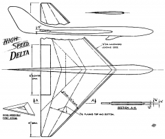 High Speed Delta 16in model airplane plan