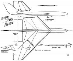 High Speed Delta 16in model airplane plan