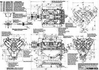 Hispano-Swiza Engine model airplane plan