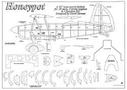 Honeypot Biplane 32in model airplane plan