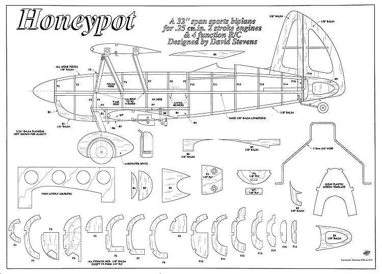 Honeypot Biplane 32in model airplane plan