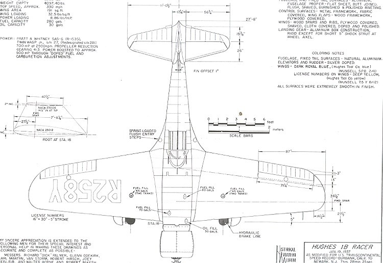 Huges 1B-Racer model airplane plan