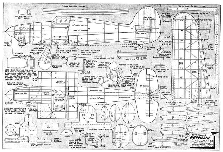 Hurricane IIC model airplane plan