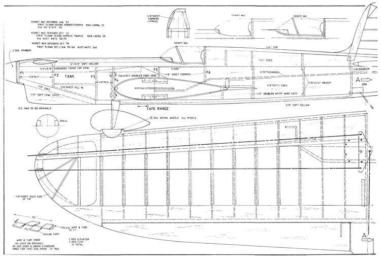 Kismet CL model airplane plan