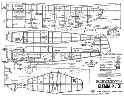 Klemm KL-31 model airplane plan