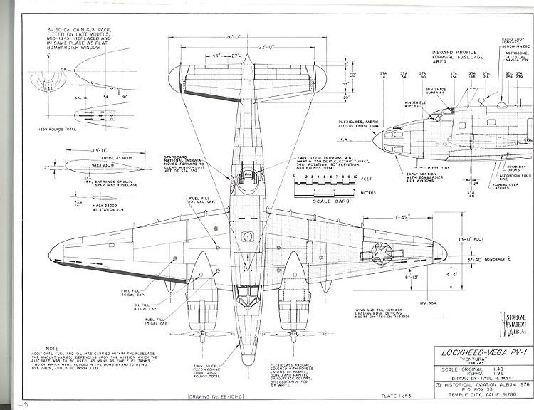 Lockheed Vega PV-1 model airplane plan