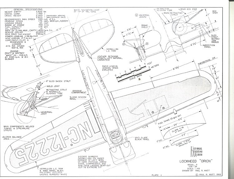 Lockheed Model 9 Orion model airplane plan