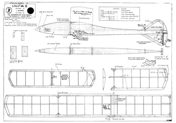 Lulu Glider model airplane plan
