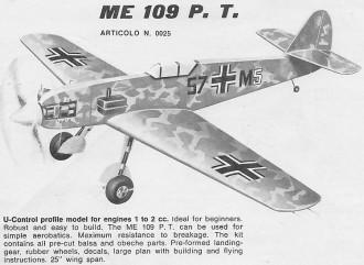 ME 109 P.T model airplane plan