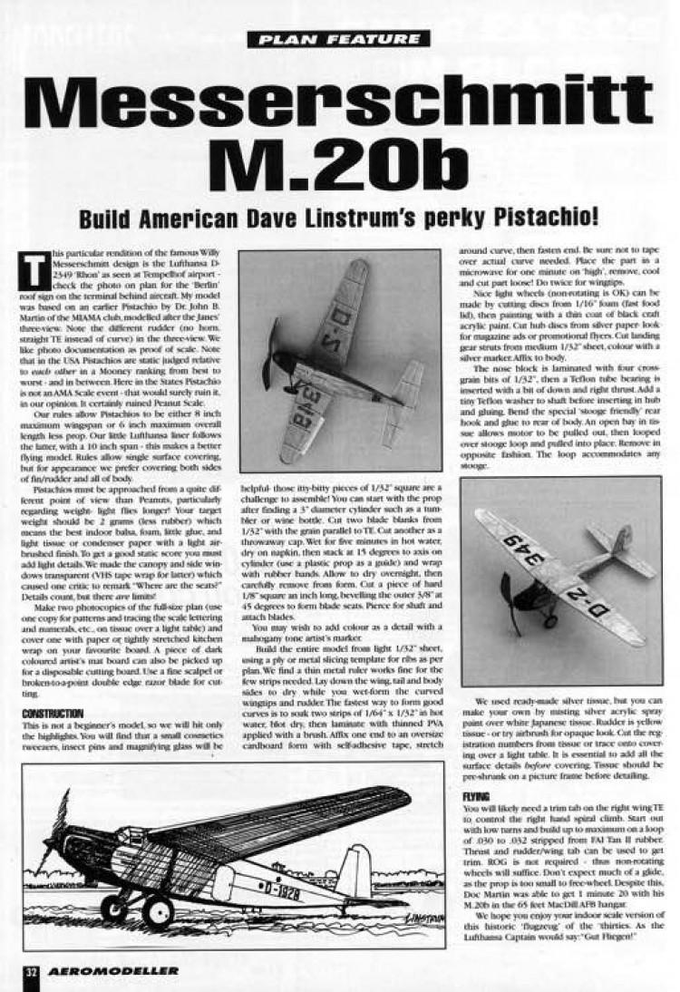 Messerschmitt M.20B model airplane plan