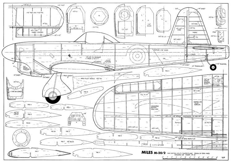 Miles M.20/2 model airplane plan