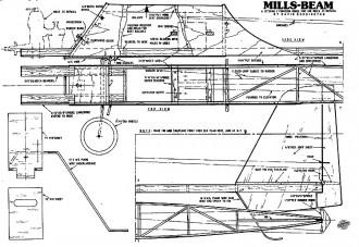 Mills Beam 32in model airplane plan