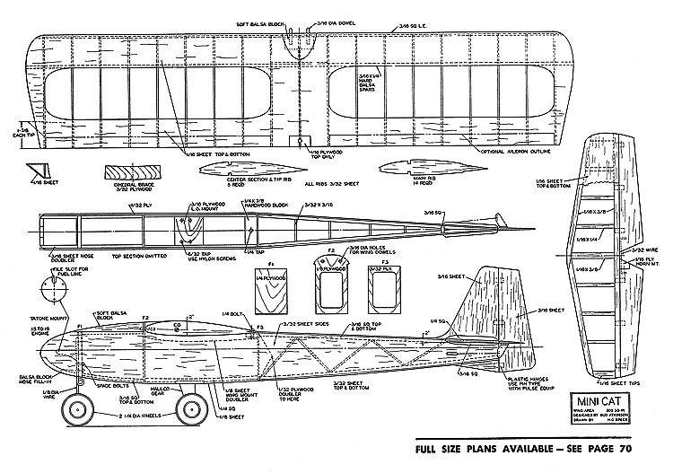 Mini Cat model airplane plan