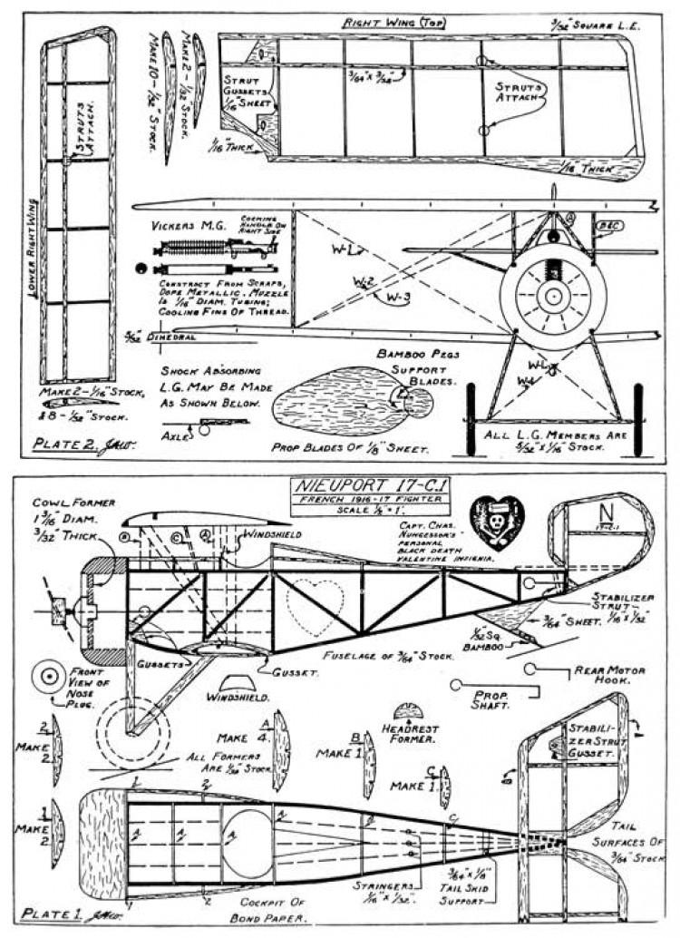 Nieuport 17 13in model airplane plan