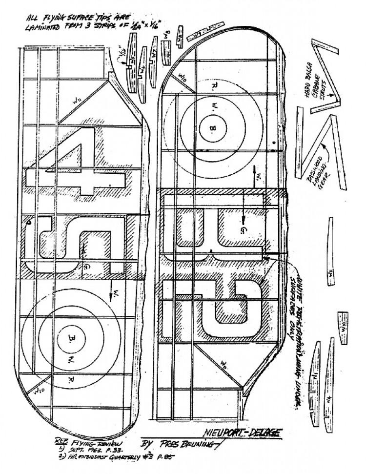 Nieuport-Delage model airplane plan