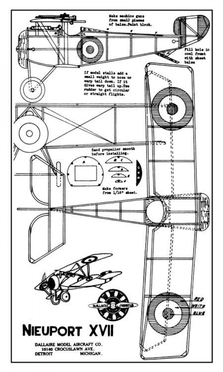 Nieuport 17 2 model airplane plan