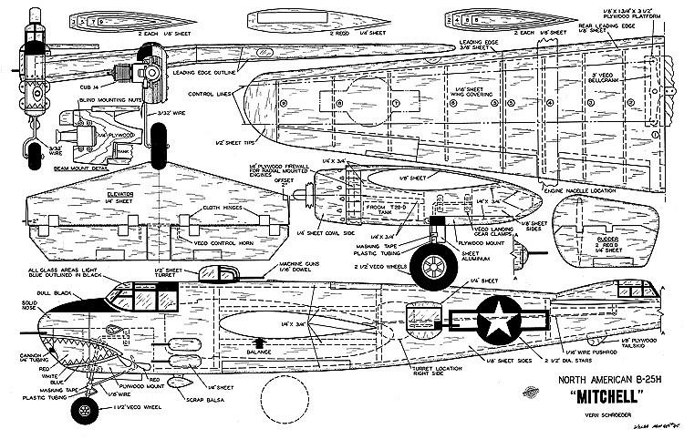 North American B-25H Mitchell model airplane plan