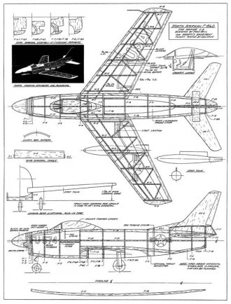 North American F-86D model airplane plan