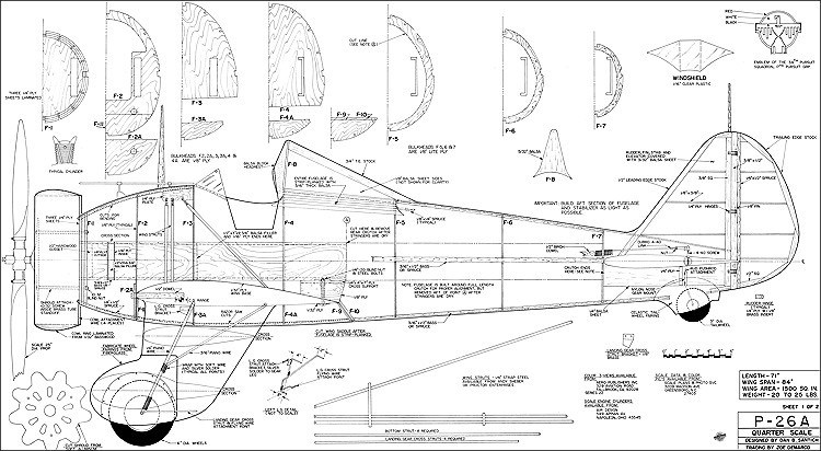 P-26A Quarter model airplane plan