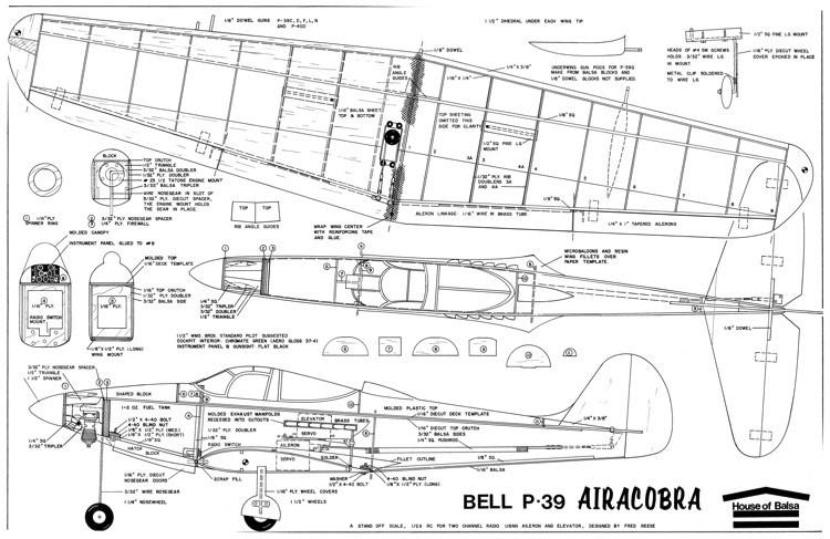 P-39 AirCobra HouseofBalsa model airplane plan