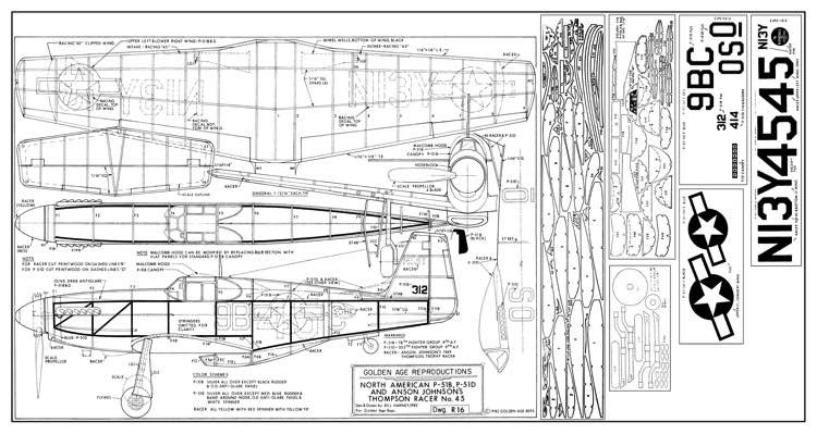 P-51B - Golden model airplane plan