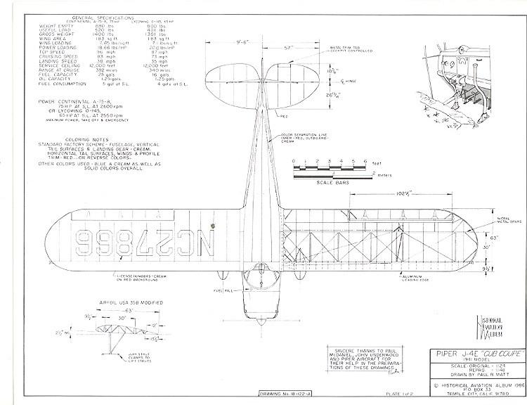 Piper J-4E Cub Coupe model airplane plan