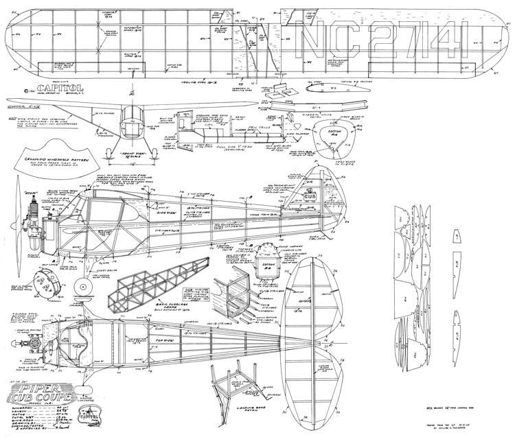 Piper J4 Cub Coupe model airplane plan