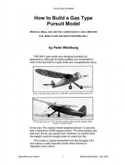"WS-3 Pursuit ""Look Like"" model airplane plan"