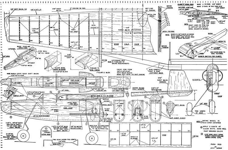 Push Rod model airplane plan