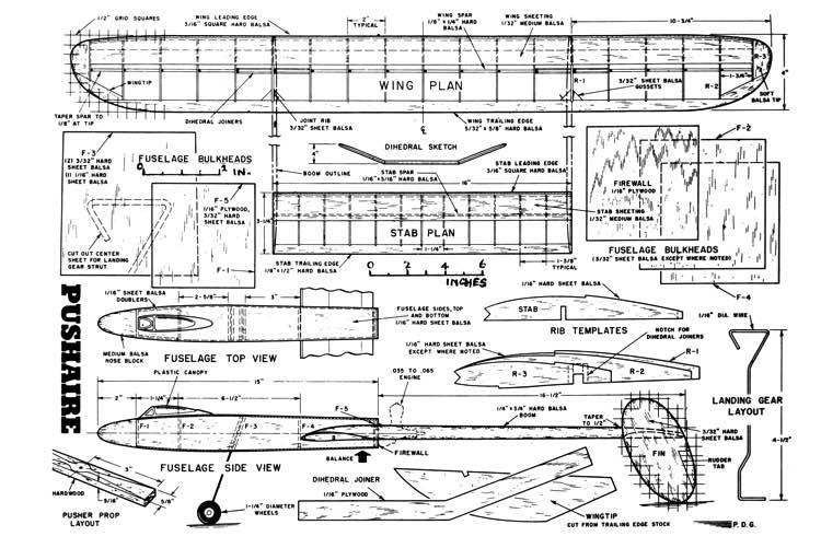 Pushaire model airplane plan